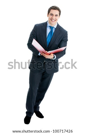 Full body portrait of happy smiling business man with red folder, isolated over white background
