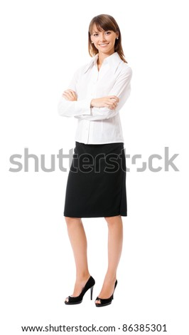 Full body portrait of happy smiling business woman, isolated on white background