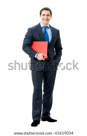 Full body portrait of happy smiling businessman with red folder, isolated on white background
