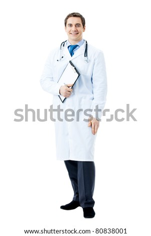 Full body portrait of happy smiling doctor, isolated on white background