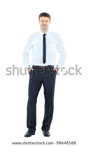 Full body portrait of happy smiling young business man, isolated on white background