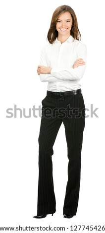 Full body portrait of happy smiling young cheerful business woman, isolated over white background