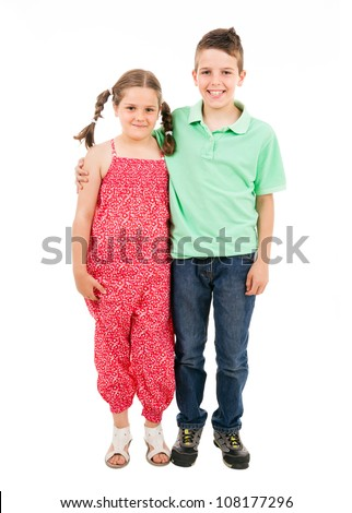 Full body portrait of two children standing over white background - stock photo