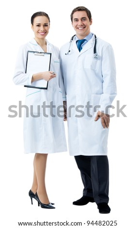 Full body portrait of two happy smiling young medical people, isolated over white background