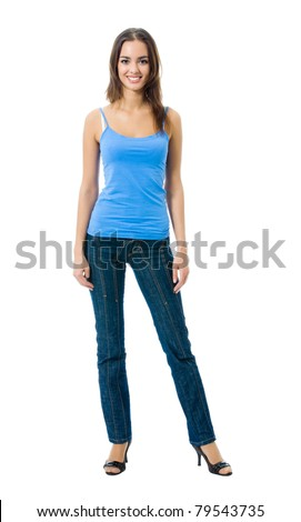 Full body portrait of woman in sportswear, isolated on white background