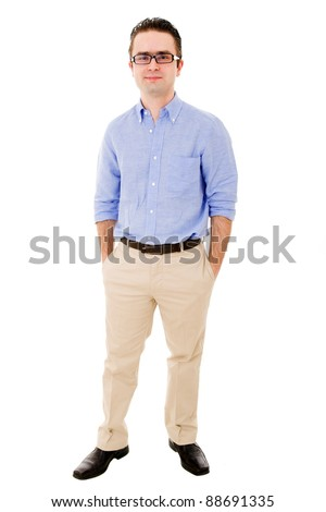 Full body portrait of young casual man with glasses smiling, isolated on white