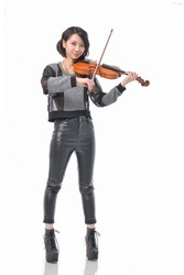 Full body portrait of young pretty woman playing violin-white background