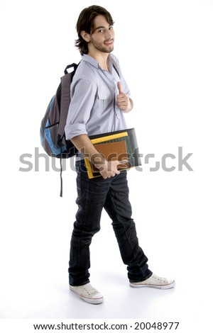 full body pose of student holding his books with white background
