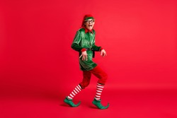 Full body profile side photo of crazy naughty elf sneak x-mas copyspace wear christmas headwear isolated on shine color background