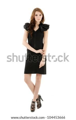 Full body sexy woman in evening dress,
