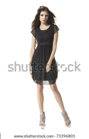 Full body shot of a beautiful girl, isolated on white background