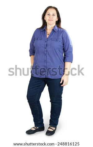 Full body shot of middle-aged woman on white Сток-фото ©