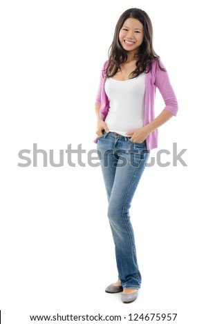 Full body Southeast Asian girl smiling over white background