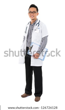 Full body southeast Asian medical doctor. Male medical doctor holding a clipboard standing on white background with confident smile.