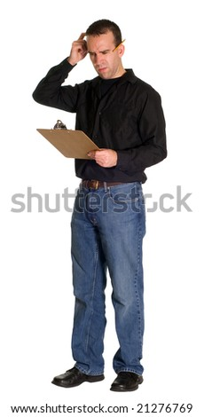 Full body view of a confused worker, isolated against a white background