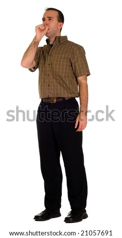 Full body view of a male employee coughing, isolated against a white background