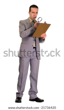 Full body view of a man inspecting a checklist with a magnifying glass, isolated against a white background