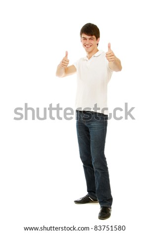 Full body view of a man looking excited and giving  thumbs up - isolated on white background
