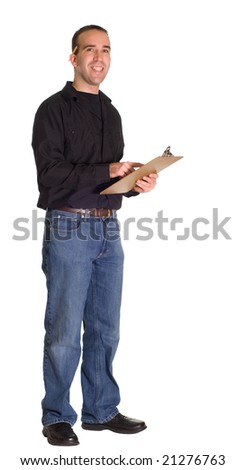 Full body view of a man with a clipboard, isolated against a white background