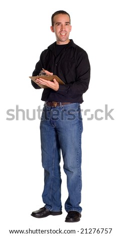 Full body view of a supervisor holding a clipboard, isolated against a white background