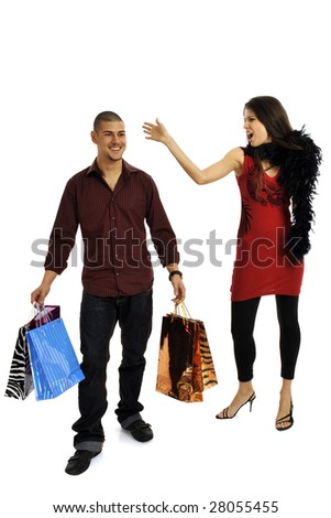 Full body view of young attractive woman and man in elegant wear, going shopping with lots of colorful shopping bags. Isolated on white background.