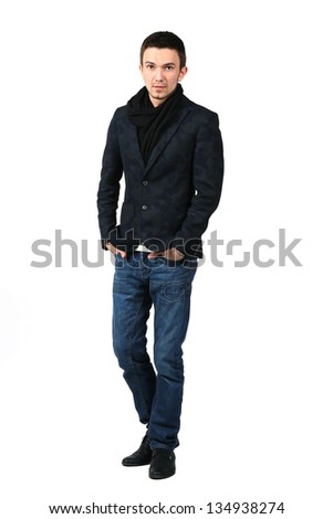 Full body young caucasian man in casual clothes on white background
