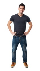 full body young man standing over white