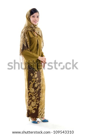 Full body young muslim woman traditional kebaya on white background