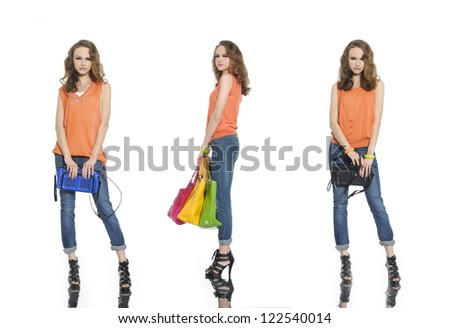 Full body young three woman in jeans with bag posing on white background