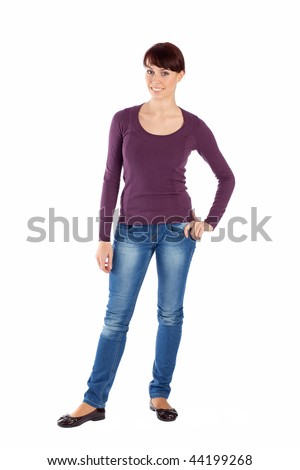 Full body young woman in casual clothes, relaxed pose, isolated over a white background.