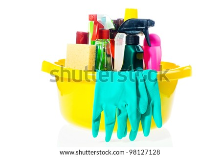 full box of cleaning supplies