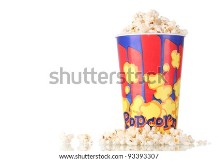 Full bucket of popcorn isolated on white