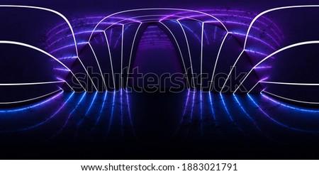 Full 360 by 180 degree angle seamless of futurustic minimalistic building interior 3d render illustration Сток-фото ©