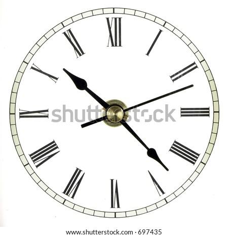 Full clock face isolated over white