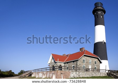 Full close up view of the Fire Island Lighthouse. Fire Island National Seashore, Long Island, New York.