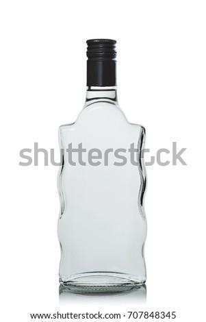 Full, closed bottle of vodka on white background #707848345