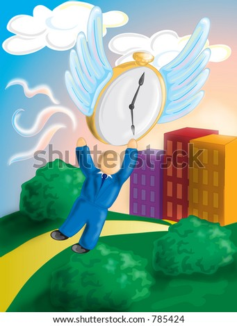 Full color illustration of a man trying  to hold on to time. Also depicts mans struggle to catch time before it flies away, in business and life.