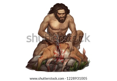 Full Color Illustration of Neanderthal Hunter Slice Deer with Ancient Technology Rock Knife Stone tool