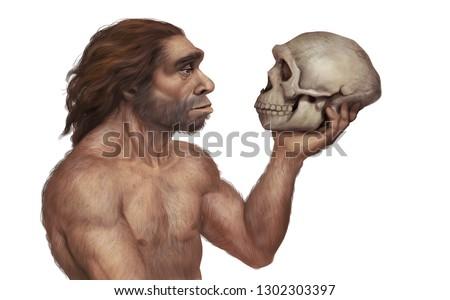 Full Color Realistic Illustration of Prehistoric Neanderthal Man Holding a Neanderthal Skull