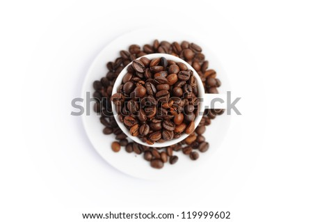 full cup of coffee beans