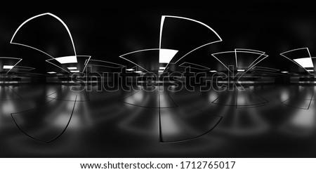 Full 360 degree equirectangular panorama hdri of dark modern futuristic shiny reflective building interior 3d render illustration