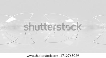 Full 360 degree equirectangular panorama hdri of modern futuristic white building interior 3d render illustration Сток-фото ©