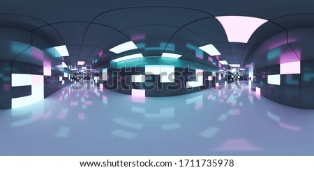 Full 360 degree equirectangular panorama hdri of modern futuristic white hallway interior 3d render illustration
