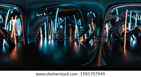 full 360 degree panorama of futuristic building interior with neon lights 3d render illustration hdri hdr vr style panorama Сток-фото ©