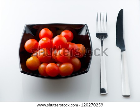 Full dish of small tomatoes