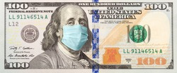 Full 100 Dollar Bill With Concerned Expression Wearing Medical Face Mask.