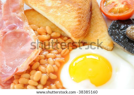 Full English breakfast close-up