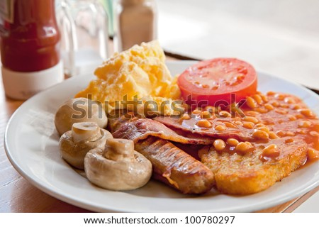 Full English Breakfast on Table