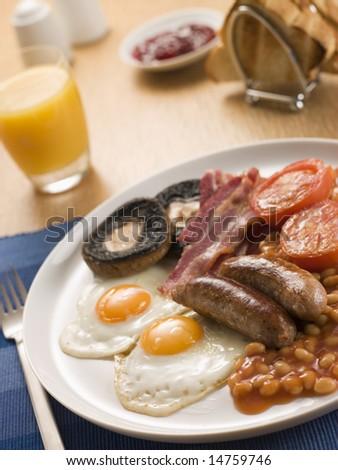 Full English Breakfast with Orange Juice Toast and Jam