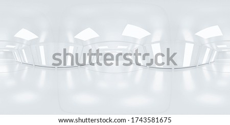 Full 360 equirectangular spherical panorama view of modern futuristic technology building architecture 3d rendering illustration